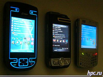 E-Ten G500, Mio A700 и HP iPAQ hw6515: экраны в темноте, сбоку