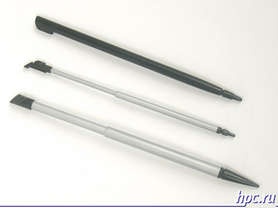 Снизу вверх cтилусы: E-Ten G500, Mio A700 и iPAQ hw6515