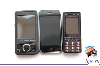 GSmart MW700 в сравнении с iPhone и мобильным телефоном Sony Ericsson