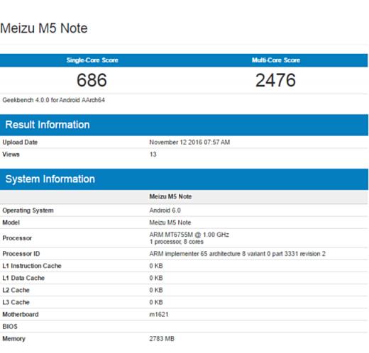 Geekbench иAnTuTu поведали онекоторых характеристиках телефона Meizu M5 Note