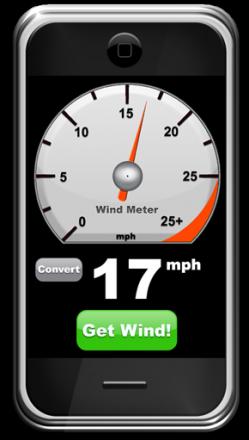 iPhone измеряет скорость ветра